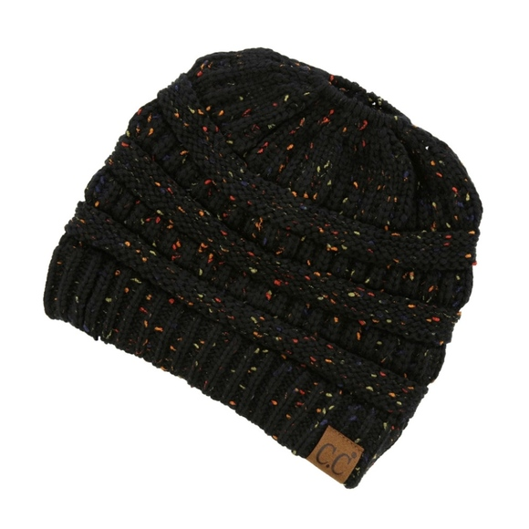 78d505237bd Messy-bun C.C Beanie in Black